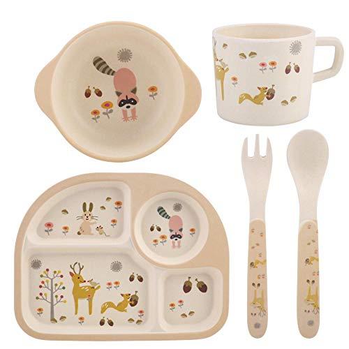 Cartoon Kinder Geschirr Set 5 Stücke Kinder Bambusfaser Ungiftig Geschirr Schüssel Tasse Platten Sets Snack Gerichte Geschirr Gerichte für Kleinkinder(#2) - 5 Stück Kinder-dinner-set