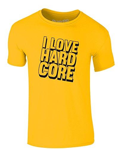Brand88 - I Love Hard Core, Erwachsene Gedrucktes T-Shirt Gänseblümchen-Gelb/Schwarz