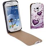 Rocina Vertikal Flip Tasche für Samsung S7562 Galaxy S Duos Herzen pink weiß