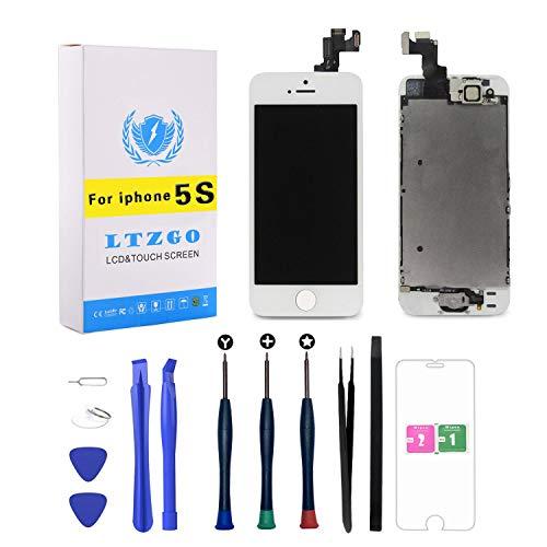 ltzgo lcd display adatto per iphone 5s bianco con pulsante home, fotocamera frontale, altoparlante sensore di prossimità, kit strumenti e lastra di vetro temperato touch screen