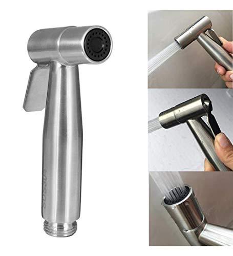 Bidet Sprayer Bidet Armaturen Set inkl. Haltegriff Bidet Sprayer & Amp 1,2 m Edelstahlschlauch Messing 1/2 & Quot T-Adapter und kostenloser Montagebügel, Metallic