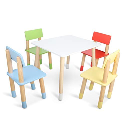 Bammax Kindersitzgruppe, Holz Kindertisch mit 4 farbereiche Kinderstühl, Kinder Tisch und Stuhl Set, Indoor Outdoor Stuhl für 3~8 Jahre Kleinkind, Kinder Spieltisch, Esstisch, Camping Stuhl