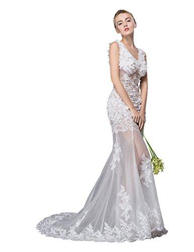 Beauty-Emily V-Ausschnitt Ärmelloses Applikationen Meerjungfrau Sweep Tailing Band-Abend-Kleid Weiß