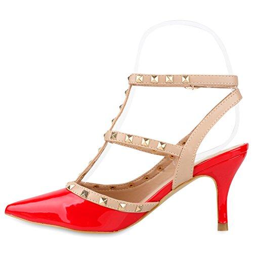 Spitze Damen Lack Riemchensandaletten Nieten Sandaletten Rot