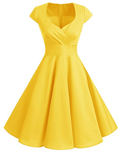 bbonlinedress 1950er Vintage Retro Cocktailkleid Rockabilly V-Ausschnitt Faltenrock Yellow S (Mode 50er Jahre Damen)