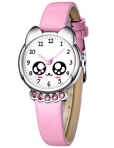 Kinder Uhren Mädchen Kinder wasserdichte Sport Modisch Armbanduhr Geschenk Zeit Lehrer Karikatur Leder Analog Quarzuhren für Kinder Jungen Mädchen Kleinkind Geschenk Rosa