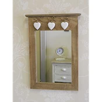 mirror with hooks. vintage mirror with hanging hearts 25.5 x 40 1cm hooks a