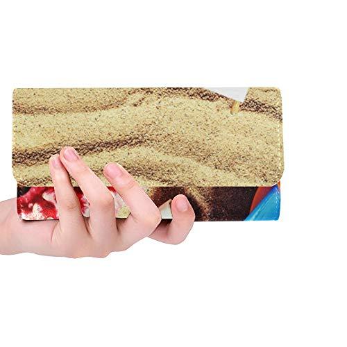 Einzigartige benutzerdefinierte bunten Spielzeug Kind Sandkästen gegen Strand Frauen dreifachgefaltete Brieftasche Lange Geldbörse Kreditkarteninhaber Fall Handtasche