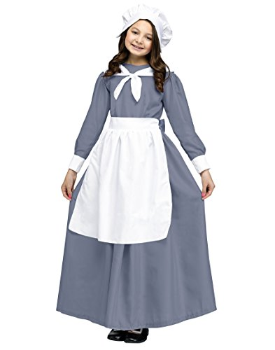 Unbekannt Pilgrim Mädchen Kostüm für Kinder, Größe L (Kinder Pilgrim Kostüm)