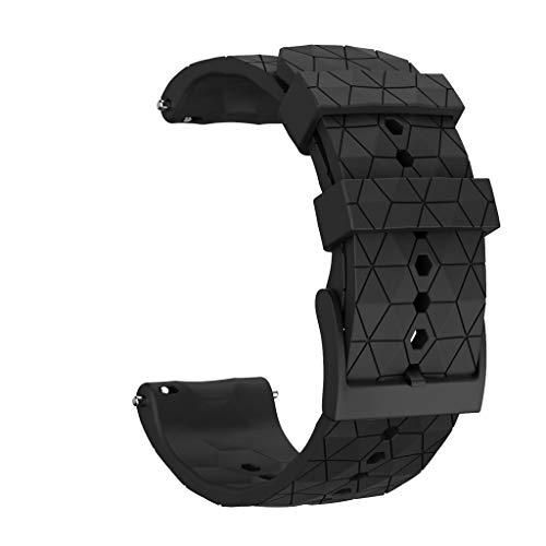 Foroner 24mm Silikonarmband Ersatz-Armband Sportuhr Armband Wristband für SUUNTO 9 / Baro Smart Watch (Schwarz)