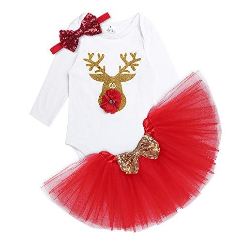 Tiaobug Baby Mädchen Weihnachten Kostüm Set Outfits Body Strampler mit Tutu Rock und Stirnband Weihnachtskostüm mit Spruch Mein erstes Weihnachten Rudolph 86/18 ()