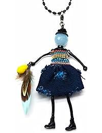 SP535-Muñeca articulada de salto-Collar con colgante para mujer con cadena de metal con diseño de moda
