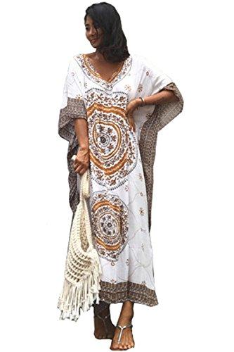 Ho Mall Damen Sommer Elegant Strand Poncho Ethnisch Drucken Lose Kaftan Kittel Sommer Maxi Kleid (Muster 3, Einheitsgröße) -