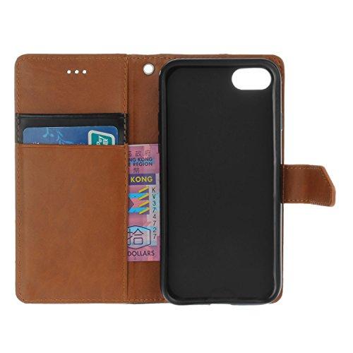Voguecase® Pour Apple iPhone 7 4,7 Coque, Étui en cuir synthétique chic avec fonction support pratique pour Apple iPhone 7 4,7 (Marron-Noir)de Gratuit stylet l'écran aléatoire universelle Noir-Marron