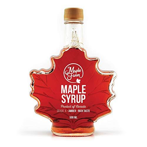 Kanadischer Ahornsirup - Blatt Flasche - Grad A (AMBER, Rich taste) 500ml (661g) - Maple Syrup in leaf bottle