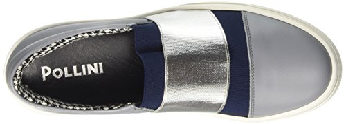 Pollini Damen 32867 Niedrige Sneaker Multicolore (Stone Calf-Blue Overseas Elastic-Silver Lamè Elastic)