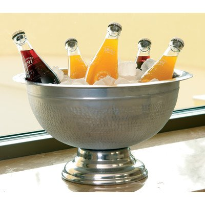 KINDWER Hammered Aluminum Pedestal Punch Bowl, 15-Inch, Silver by KINDWER - Silver Pedestal Bowl