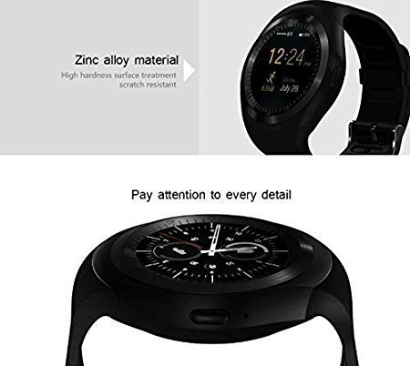 Vinpi Samsung Galaxy J2 2018 Compatible Y1 Round Screen Smart Watch with SIM Card Slot and Camera with Fitness Band Features Pedometer/Loud Speake (Black)
