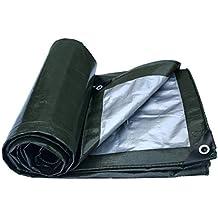 Hongyan Impermeabile in tela impermeabile in polietilene per esterno con parabrezza antipioggia ossidata, 180 g/m2, spessore 0,35 mm, argento verde militare (dimensioni : 4X4m)
