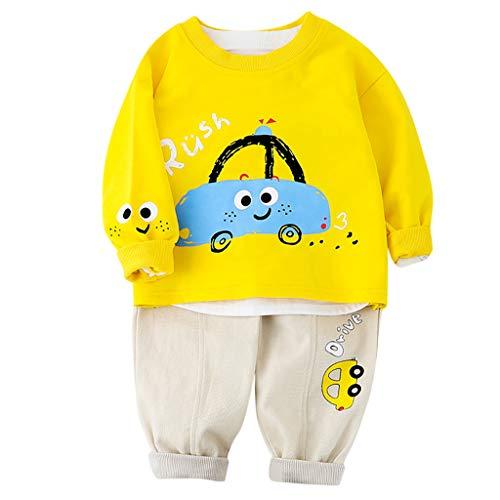 Livoral Junge Cartoon Auto Bedruckter Anzug,Sweatshirt Kleinkind Kinder Pullover T-Shirt Top Hosen Set(#1 Gelb,1-2 Jahre)