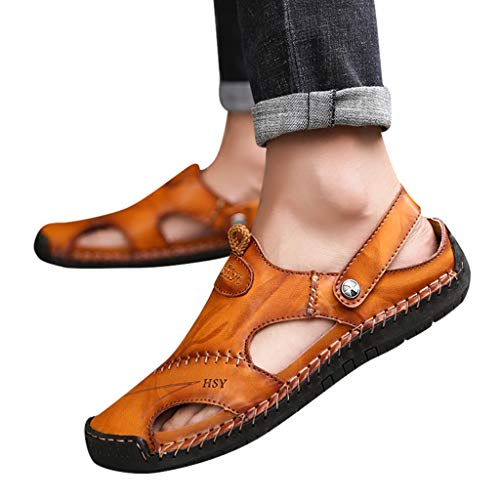 Braune Leder Clogs (Flip Flops Herren Sandalen Sommer Leder Strandschuhe Hausschuhe Slipper Clogs Zehentrenner aus Rindsleder)