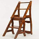 Unbekannt PIN Hauptmultifunktionsleitern Massivholzstühle, die den doppelten Zweck Wohnzimmer-Rücken-Stuhl-Leiter Falten