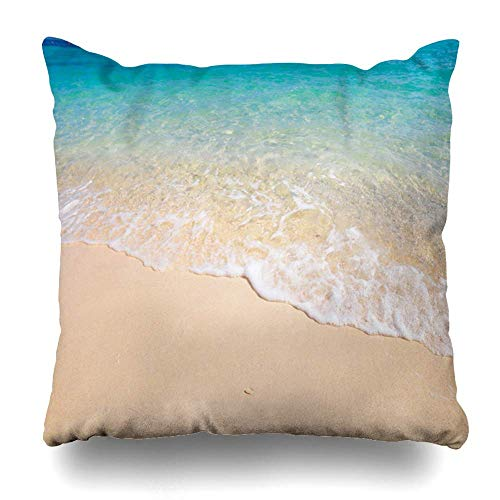 ZiJface Throw Pillows Covers Blue Water Tropical Beach White Coral Sand Calm Wave Colorful Shore Home Decor Pillowcase Square Size 18 x 18 Inches Cushion Case
