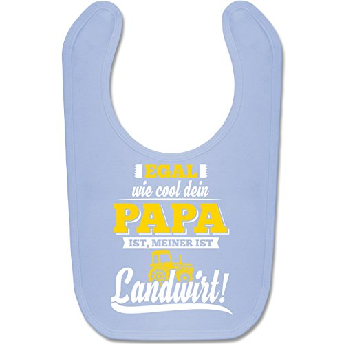 Baby - Egal wie Cool dein Papa meiner ist Landwirt - Unisize - Babyblau - BZ12 - Baby Lätzchen Baumwolle ()