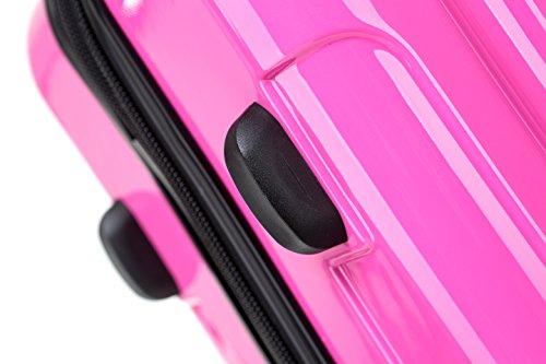 Prime BEIBYE 3 tlg. Reisekofferset Kofferset Trolley Trolleys Koffer Zwillingsrollen Hartschale Pink