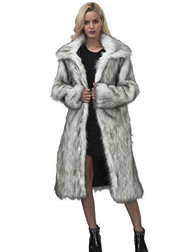 Yuandian donna autunno e inverno casuale colletto quadrato lungo parka cappotto di pelliccia sintetica elegante morbido caldo ecologiche faux pellicce lunghe giubbotto capispalla neve grigio m