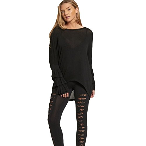 Minni Rossa Ladies Womens High Waisted Skinny Ripped Leggings Lace Underlay Detail One Size Black