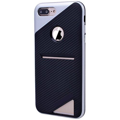 HB-Int Handyhülle für iPhone 7 Plus Hülle Silikon mit Kartenfach Kartenhalter Rot Schutzhülle TPU Bumper Handytasche Pouch Case Silber