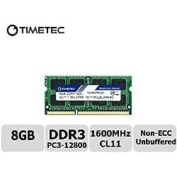 Timetec Hynix IC 8GB DDR3L 1600MHz PC3-12800 Unbuffered Non-ECC 1.35V CL11 2Rx8 Dual Rank 204 Pin SODIMM Computer Portatile Memorie Module Upgrade (8GB)