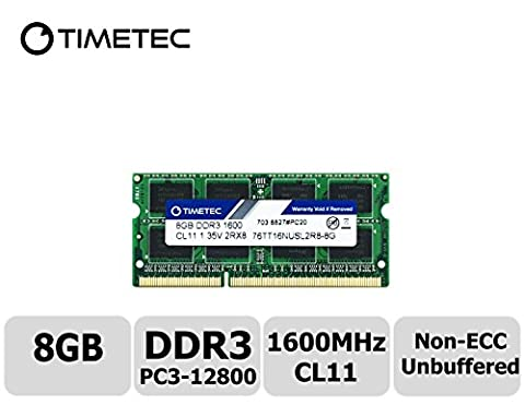 Timetec Hynix IC 8GB DDR3L 1600MHz PC3-12800 Unbuffered Non-ECC 1.35V CL11 2Rx8 Dual Rank 204 Pin SODIMM Laptop Notebook Computer Memory RAM Module Upgrade