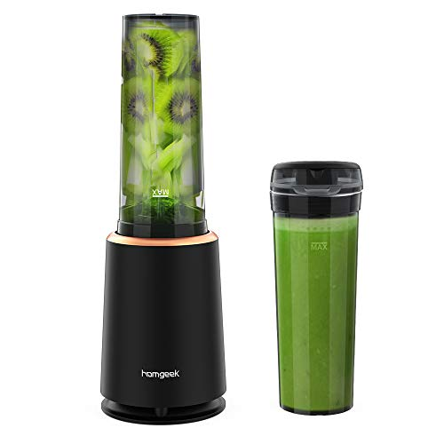 Homgeek Mini Frullatore, Smoothie Maker, Frullatore 230W con bottiglia portatile 400ml senza BPA, 4 Lame in Acciaio Inox, nero