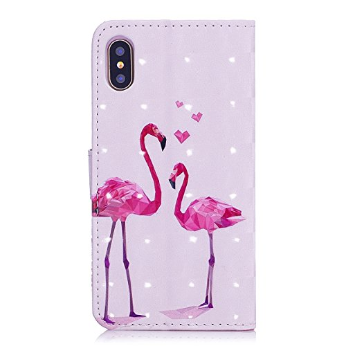 iPhone X Custodia, iPhone X Cover, JAWSEU iPhone X Custodia Pelle Portafoglio Lusso 3D Modello Design Creativo PU Leather Wallet Flip Cover Custodia per iPhone X Copertura con Morbida Gel Silicone Cas Fenicottero