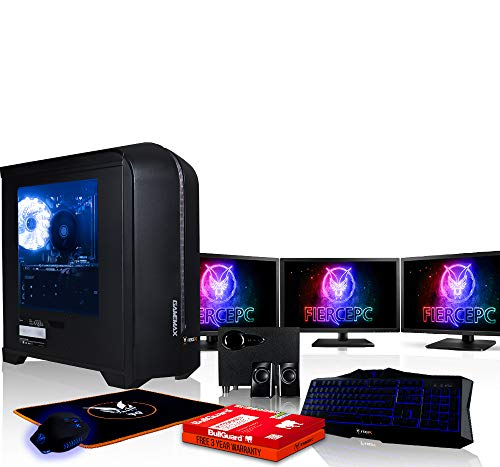 Fierce Apache Gaming PC Bundeln - 3.5GHz Quad-Core Intel Core i5 7400, 1TB SSHD, 8GB, NVIDIA GeForce GTX 1060 6GB, Tastatur (QWERTY), Maus, 3X 24-Zoll-Monitor, Lautsprecher 469765