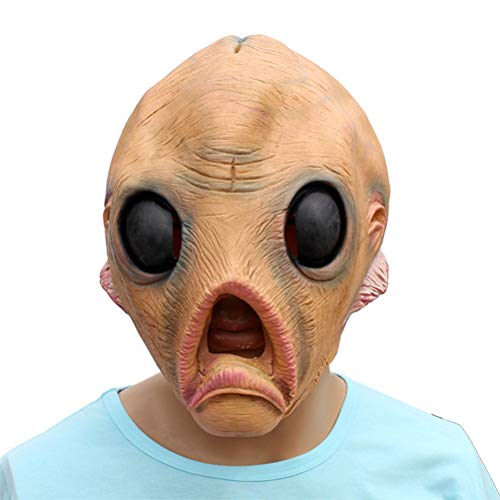Masken Alien,Deluxe Neuheit Halloween Kostüm Party Latex menschliche Hauptmaske Horror Maske für Halloween Cosplay Partei Kostüm Abendkleid