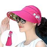 CJC Sole Cappelli per Donne Largo Tesa UV Protezione Caps Floscio Spiaggia Packable Visiera (Colore : Red, Dimensioni : 54-60CM)