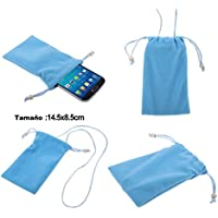 DFV mobile - Funda de Tela en Paño Suave con Cierre por Lazo y Colgante de Cuello para => KINGZONE N5 > Azul