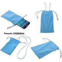 DFV mobile - Funda de Tela en Paño Suave con Cierre por Lazo y Colgante de Cuello para => TECNO R5 > Azul