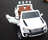 SL Lifestyle Kinderauto Elektro Ford Ranger Vollausstattung R/C in Weiss - Mit großem 12V/10Ah Akku 2 Motoren; Kinderautos elektrisch mit original Lizenz