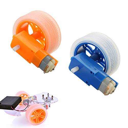 LaDicha 3-6V Tt Motor + Gummi Wheel Blue/Orange Color DIY Kit Für Arduino Smart Chassis Car Accessoires - Die Orange -