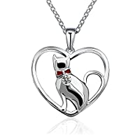 Silver Lovely Cat in Heart 925 Sterling Silver Pendant with Red bow Feature Necklace Gift Box