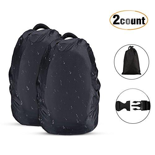 Agptek 2 pezzi custodie antipioggia per zaino, copertura custodia protettiva per zaino 10l-17l anti-polvere per camminare all'aperto campeggio viaggio escursionismo, nero