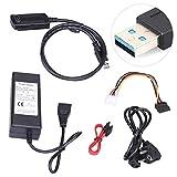 likeitwell USB 3.0 zu SATA/IDE USB 3.0 5.25''DVD RW, Festplattenlaufwerk Kabel Converter für 2.5 3,5 Zoll Festplattenlaufwerk Festplatte HDD und SSD SATA III mit 12V 2A Netzteil