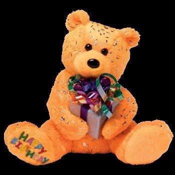 Ty Beanie Babies Happy Birthday the Bear ( Orange - W/ Present ) (Happy Birthday Beanie Baby)