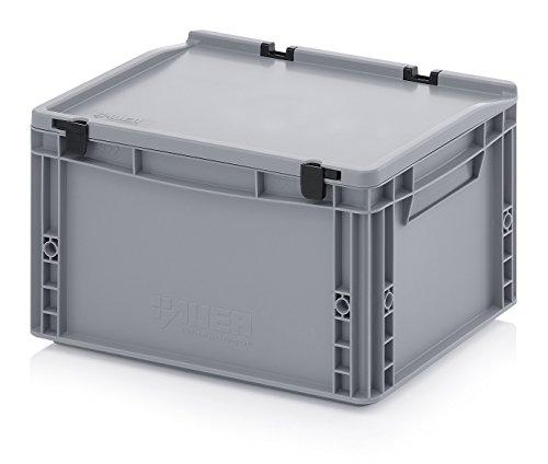Eurobehälter-Eurobox 40 x 30 x 23,5 cm mit Scharnierdeckel inkl. gratis Zollstock Deckel-case