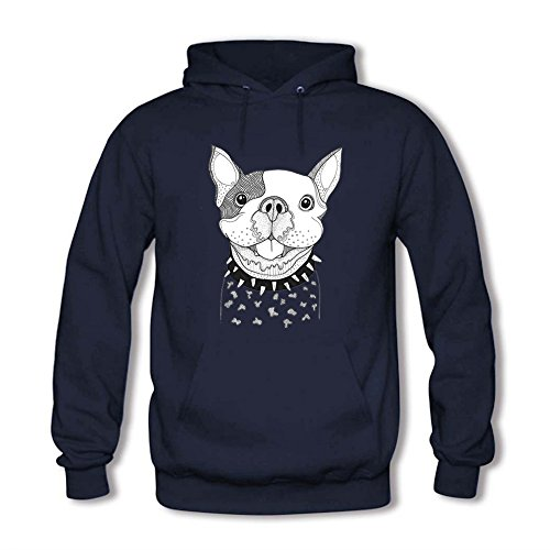 Women's Hoodies Funny Puppy Ugly Pattern Front Pocket Pullover Hoodie Sweatshirt Casual Long Sleeve Tops Navy XL