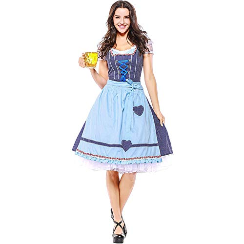 Hallowmax Damen Trachtenkleid Oktoberfest Tracht Karneval Kostüm Schleife Schick Elegant Polka Dot